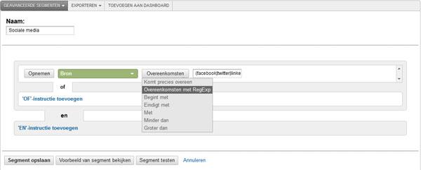 Geavanceerde segmenten instellen in Google Analytics