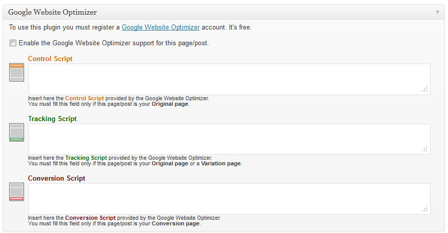 Google Website Optimizer plugin voor WordPress