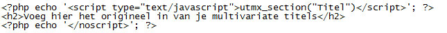 Multivariate test script WordPress