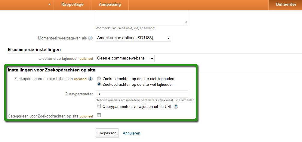 Instellingen zoekopdrachten Google Analytics