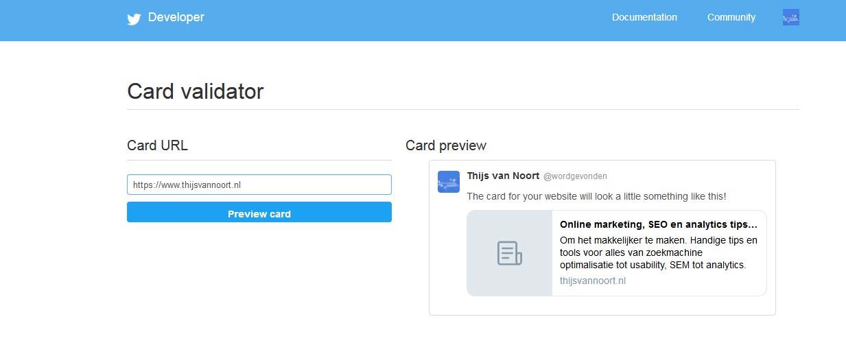 Afbeelding preview in de Card Validator van Twitter