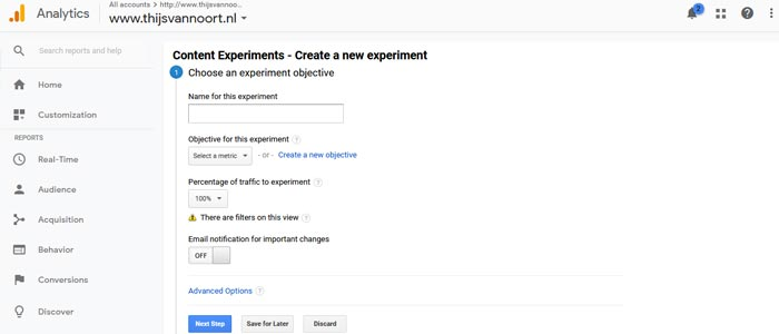 A/B test met Inhoud experimenten in Google Analytics