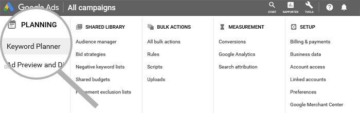 Keyword Planner in Google Ads