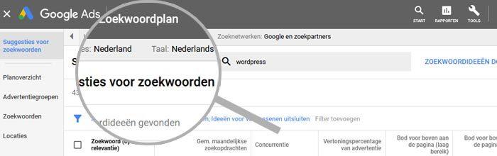 Taal en locaties instellen in Google Ads