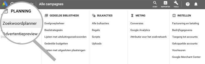 Zoekwoordplanner in Google Ads