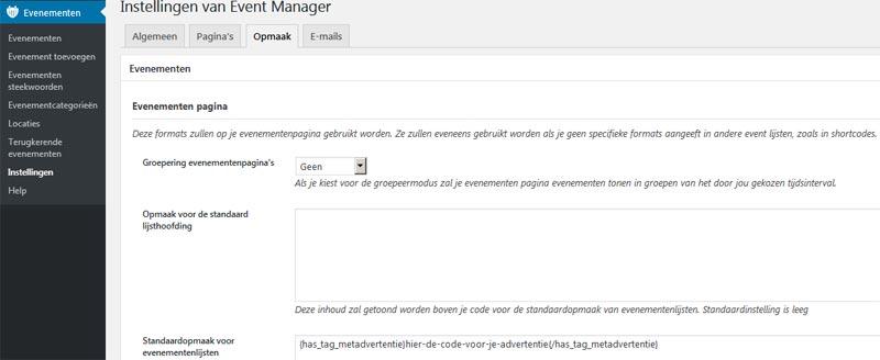 Hoe advertenties aan events manager toe te voegen in wordpress