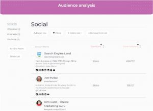 Audience analysis data lists