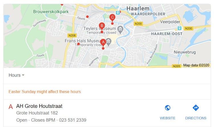 Google My Business resultaten in Google